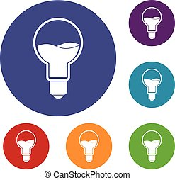 Light bulb with blue water inside icons set