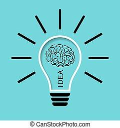 Light bulb with brain illustration