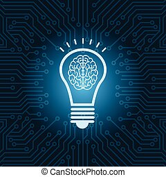 Light Bulb With Brain Inside Icon Over Blue Circuit Motherboard Background