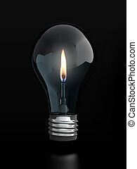 Light bulb with candle flame - 3d render of light bulb with...