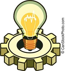 Light bulb with cog wheel background.