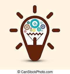 Light Bulb with Cogs - Gears. Vector Symbol.