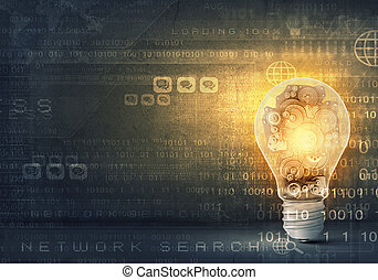 Light bulb with cogwheels - Concept of mechanism light bulb ...