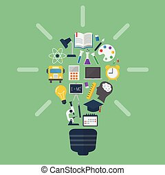 Light bulb with colorful education icons