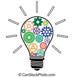Light Bulb with Colorful Gears vector illustration