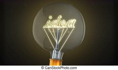 Light bulb with concept of idea. 3D - light bulb with...