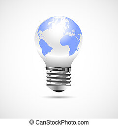 Light Bulb with Earth Globe. Vector concept