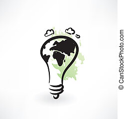 light bulb with earth grunge icon