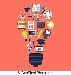 Light bulb with education icons