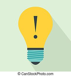 Light bulb with exclamation mark icon, flat style