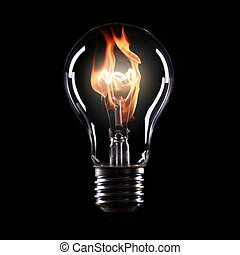 light bulb with fire on black background