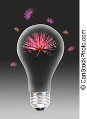 Light bulb with flower.