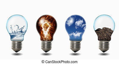 light bulb with four elements of fire, air, water and soil inside