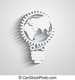 light bulb with gears and cogs working together, idea ...