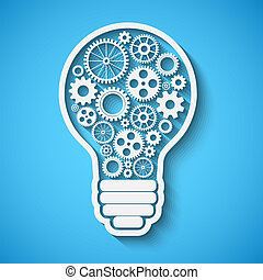 light bulb with gears and cogs working together, teamwork...
