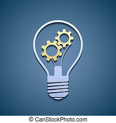 Light bulb with gears.