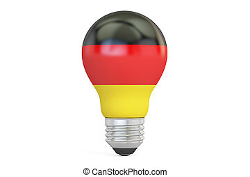 Light bulb with Germany flag, 3D rendering