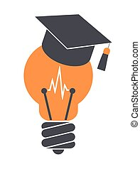 Light bulb with graduation cap. Education icon. Isolated on white