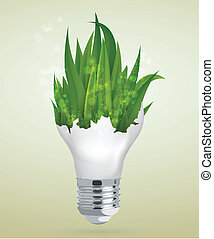 light bulb with grass. the concept
