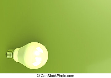 Light bulb with green background