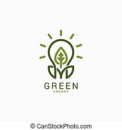 Light bulb with green leaf. Green energy logo.