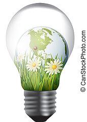 light bulb with green world inside