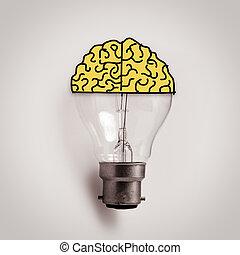 Light bulb with hand drawn brain as creative idea concept