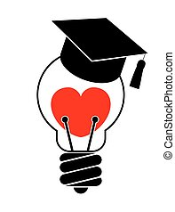 Light bulb with heart and graduation cap. Love education concept. Isolated