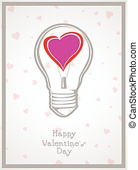 Light bulb with heart valentine Day background