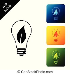 Light bulb with leaf icon isolated. Eco energy concept. Set icons colorful square buttons. Vector Illustration