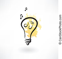 Light bulb with music note inside grunge icon