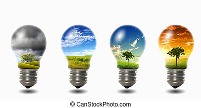 four light bulbs with nature simbols inside