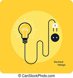 Light bulb with plug on cord - icon, electricity and voltage concept