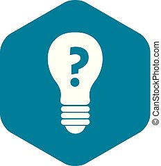 Light bulb with question mark inside icon simple