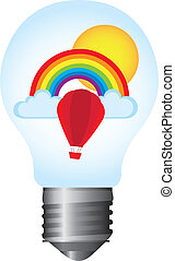 light bulb with rainbow