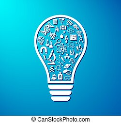 Light bulb with science icons