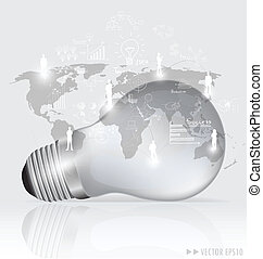 Light bulb with social networking concept. Vector illustration.