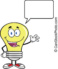 Light Bulb Cartoon Mascot Character Waving For Greeting With Speech Bubble