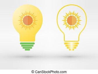 Light bulb with sun. Vector