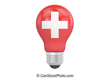 Light bulb with Switzerland flag, 3D rendering isolated on ...