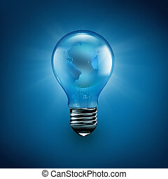 light bulb with the world inside