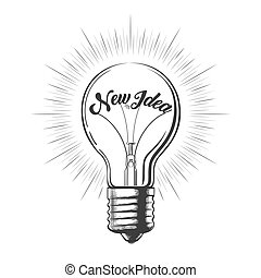 Light Bulb with Wording New Idea in Engraving Style