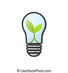 Light Bulb with young green leaf plant isolated on white, stock vector illustration