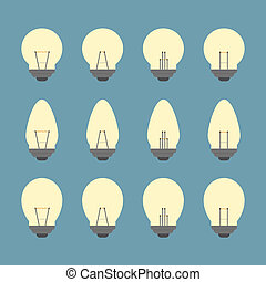 Light bulbs and Bulb icon set vector