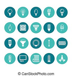 Light bulbs flat glyph icons. Led lamps types, fluorescent, filament, halogen, diode and other illumination. Thin linear signs for idea concept, electric shop. Solid silhouette pixel perfect 64x64