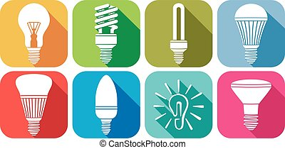 light bulbs flat icons set