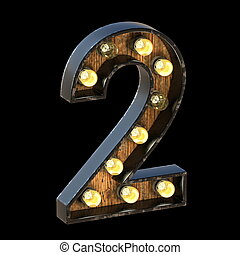 Light bulbs font Number 2 TWO 3D