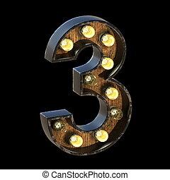 Light bulbs font Number 3 THREE 3D