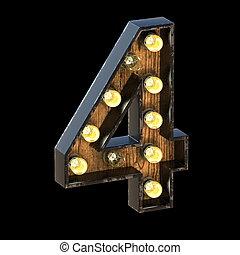 Light bulbs font Number 4 FOUR 3D