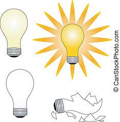 """Light bulbs - Four light bulbs illustrating """"idea"""""""